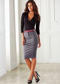 Surplice top, back detail skirt, patent peep toe pump