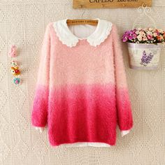 Korea fashion sweet gradual change mohair sweaters from Fashion Kawaii [Japan…