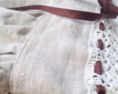 Vestitino lino e cotone abito damigella bambina lavorato uncinetto e sartoria fatto a mano