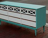 Nine Drawer Textured Aqua Dresser with White Drawers and Navy Detail $500