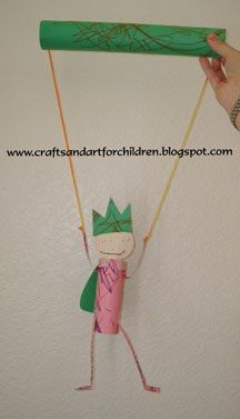 домашний кукольный помощью картонных трубок, kids craft с помощью туалетной бумаги, пробок и бумажных полотенец труб