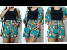 kimono e Short. DIY - YouTube Como Fazer Short, Boho Kimono, Diy Clothes, Boho Shorts, Couture, Sewing, Casual, Dresses, Fashion