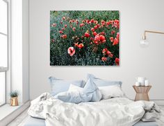 """«Poppies In A Field», Numbered Edition Canvas Print by ARTbyJWP via Curioos #homedecor #decoration #walldeco #poster #shop #wallart - This numbered edition Canvas Print, designed by ARTbyJWP, comes with a numbered and signed certificate of authenticity. Ready to hang, this image is printed onto a 450gsm white finish, 100% cotton canvas and stretched over 1.5"""" deep wood stretcher bars (3/4"""" for XS). Each print comes with wall hanging hardware."""