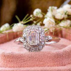 Edwardian Diamond Ring - Emerald Diamond Halo Set Ring - Unique Estate Diamond Ring - Woman's Diamond Ring - Daily Wear Woman's Ring by DiamondJewels99 on Etsy Emerald Diamond, Halo Diamond, Diamond Cuts, Diamond Rings, Diamond Jewelry, Silver Jewelry, Halo Setting, Diamond Shapes, Edwardian Ring