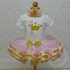 Pink and Gold Princess First Birthday by FourSweetHeartsTutus