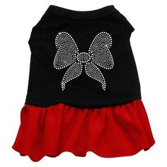 Rhinestone Bow Dresses Black with Red XL 16 >>> See this great product.