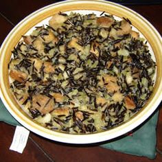 Wild Rice Stuffing for Turkey Allrecipes.com | use vegan butter, veg bouillon