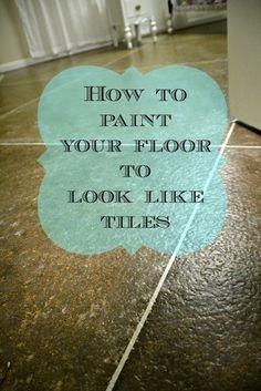 faux painted floor, faux tiles, painted floor