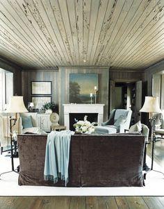 green ~ grey ~ blue ~ wood ~ living room ~ interior
