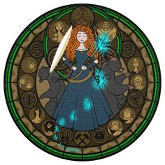 Disney Stain Glass: Merida in Brave. If this is a kingdom hearts related post, which I think it is, it has all of my yes.