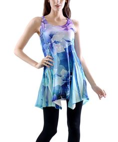 Another great find on #zulily! Blue & Purple Sparkle Flower Racerback Handkerchief Tunic by Simply Couture #zulilyfinds