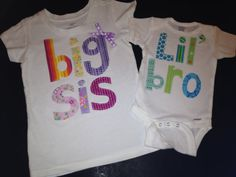 Brother, Sister, and Cousin Multi-Color Letters Shirts or Onesies Perfect For Growing Families on Etsy, $12.75