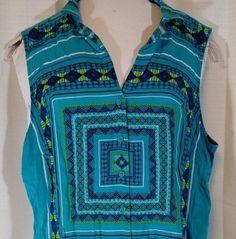 APT 9 Shirt Top Women Size XL Button Up Geometric Print Blue Sleeveless #Apt9 #ButtonDownShirt #Casual