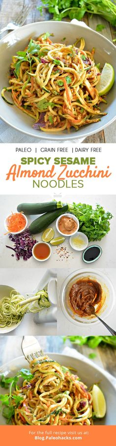On a warm day, few dishes satisfy like a chilled, nutty noodle salad. These almond zucchini noodles are smothered in a creamy sesame sauce for the perfect Paleo takeout replacement. For the full recip(Paleo Recipes Zucchini) Zoodle Recipes, Spiralizer Recipes, Veggie Recipes, Asian Recipes, Whole Food Recipes, Cooking Recipes, Healthy Recipes, Paleo Salad Recipes, Cabbage Recipes