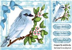 Pretty blue bird on a branch with bow 8x8 on Craftsuprint - Add To Basket!