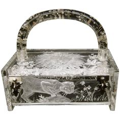 Museum Worthy Artisan Lucite Box Purse Designed by Joyce Francis | See more vintage Evening Bags and Minaudières at https://www.1stdibs.com/fashion/handbags-purses-bags/evening-bags-minaudieres in 1stdibs