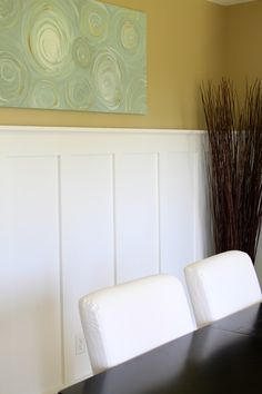 top half, favorite tan by SW and bottom gloss white by benjamin moore