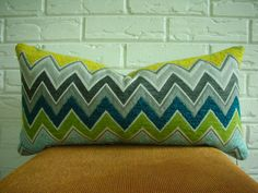 Zenyatta Mondatta Schumacher Peacock Chevron Lumbar Decorative Pillow Cover 12 x 22