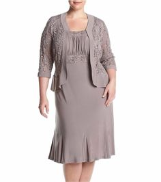 RM Richards Women's Plus Size Ruffled Trim Lace Jacket Mother of the Bride Dress, Royal Mother Of The Bride Jackets, Mother Of The Bride Plus Size, Mother Of The Bride Gown, Gown With Jacket, Lace Jacket, Jacket Dress, Big Size Dress, Plus Size Dresses, Plus Size Womens Clothing