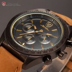 Tiger Shark 24 Hours Display Chronograph Relogio Masculino Leather Band Mens Quartz Clock Wrist Men Military Sport Watch /SH239