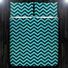 Aqua Turquoise Blue Chevron Duvet Cover Bedding by DUVETCOVER, $20.00