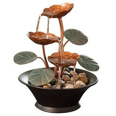 Bits and Pieces Indoor Lily Water Fountain Tabletop Decoration Spa Meditation #BitsandPieces