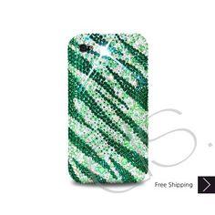 Zebra Wave Bling Swarovski Crystal iPhone 5 Case - Green