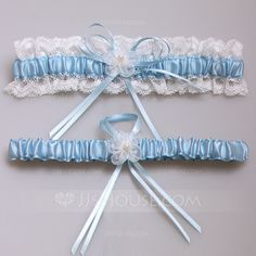 [NZ$ 15.07] Amazing Satin With Pearl/Lace Wedding Garters