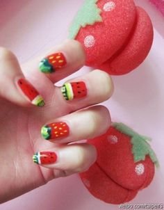 beautiful  Fingernail---I'd like pink with one accent strawberry nail better, but cute