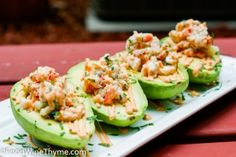 OMG.  Crab Meat & Shrimp Salad Stuffed Avocados w/ Chili Lime Sauce