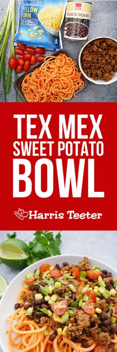 Add your favorite taco toppings to this Tex Mex Sweet Potato Bowl. With spiralized sweet potatoes from Harris Teeter, you'll be able to satisfy your cravings without busting your diet! Easily made gluten-free and dairy-free.