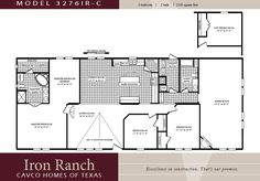 3 bedroom ranch floor plans | Large 3 bedroom 2 bath Double Wide manufactured homes