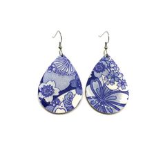 Tear Drop Earrings White and Blue Cherry Blossoms by PrettyKiku