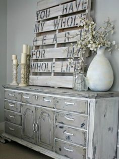 An old pallet makes the perfect canvas for a rustic, DIY piece of art. Any romantic sentiment will do, but this one is particularly lovely for a love nest!