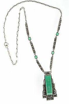 Vintage Sterling Silver Art Deco Jugendstil Green Jade Marcasite Necklace   eBay