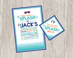 Printable Pool Party Invitation  Birthday by ThePaperVioletShoppe, $15.00