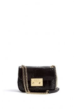 Michael Michael Kors Black Patent Python Small Sloan Shoulder Flap Bag 5