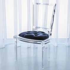 Global Views Marilyn Acrylic Side Chair in Admiral Blue from The Well Appointed House Acrylic Dining Chairs, Lucite Chairs, Lucite Furniture, Acrylic Chair, Acrylic Furniture, Modern Furniture, Furniture Chairs, Room Chairs, Luxury Furniture