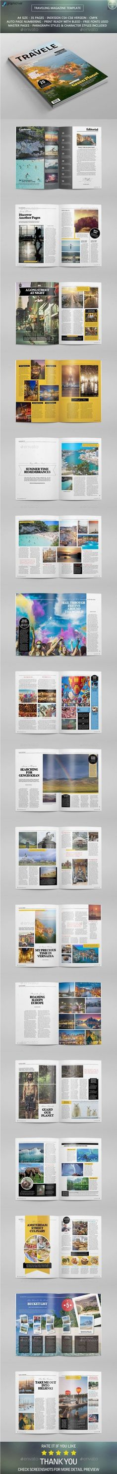 Traveling Magazine Template #design #journal Download: http://graphicriver.net/item/traveling-magazine-template/10764387?ref=ksioks