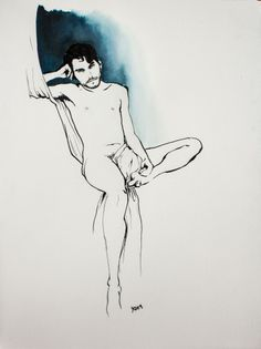 Anthony II - Yan Moussu, ink and water color for a nude dark guy