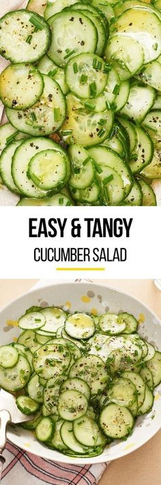 This easy quick pickled cucumber salad is the simple summer side your dinner is missing. Pairs perfectly when served with grilled meats like chicken fish pork fish and beef. You'll need cucumbers for this recipe sugar vinegar green onions olive oi Cucumber Recipes, Vegetable Recipes, Salad Recipes, Vegetarian Recipes, Cooking Recipes, Healthy Recipes, Vegetarian Cooking, Loaf Recipes, Vegetarian Sandwiches