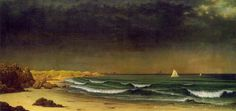 """Artist Martin Johnson Heade: """"Approaching Storm: Beach near Newport"""", 1861/62, oil on canvas, Dimensions: Height: 711.2 mm (28 in). Width: 1,482.7 mm (58.37 in), Current location: Museum of Fine Arts, Boston."""