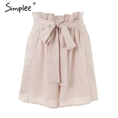 8825ff108d Simplee Satin ruffle bow summer shorts women Casual soft beach elastic waist  shorts 2018 Chic pink loose streetwear shorts femme
