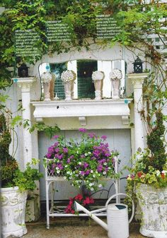 garden mantle. I just bought a mantle like this for outside! Can't wait!!