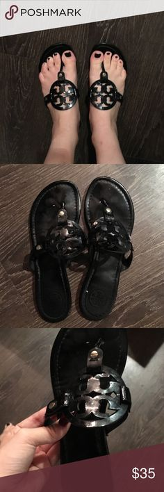 USED TORY BURCH SANDALS BLACK SIZE 7 TORY BURCH SHOES (bought a new pair so selling my old) a little bit of pink on one of them but selling them for 165 off of the regular price Tory Burch Shoes Sandals