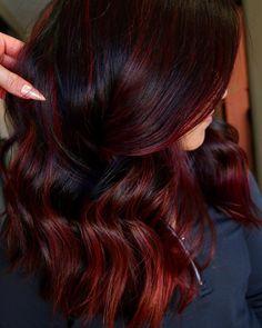 Red Highlights In Brown Hair, Brown Blonde Hair, Light Brown Hair, Dark Brown, Dark Hair With Red, Brown Hair Red Balayage, Dark Red Hair With Brown, Red Hair With Highlights, Ombre For Dark Hair