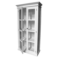 Showcasing a solid mahogany frame and crisp white hue, this eye-catching display cabinet is perfect for highlighting vintage trinkets or leather-bound books....