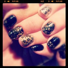 Black and golden stamped mani by andreahoyosl...
