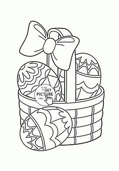Little Basket With Easter Eggs Coloring Page For Kids Pages Printables Free