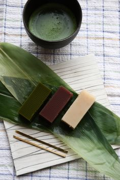 Japanese sweets, Mizu-yokan jelly and matcha green tea. #japan #foods #travel #photo
